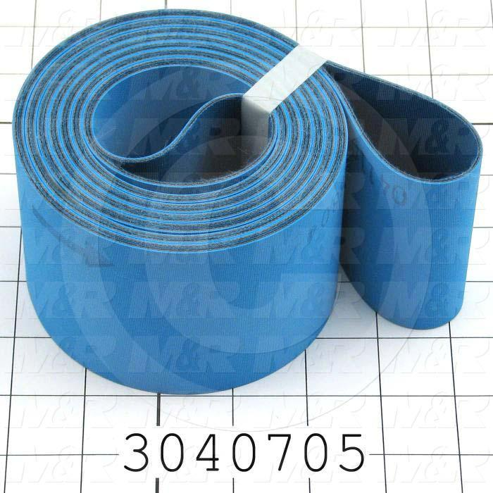 "Flat Conveyor Belt, Fine/Tex., Polyamide, Polyamide, Blue, Blue, 0.07"" Thickness, 3 in. Width, 148.75"" Length"