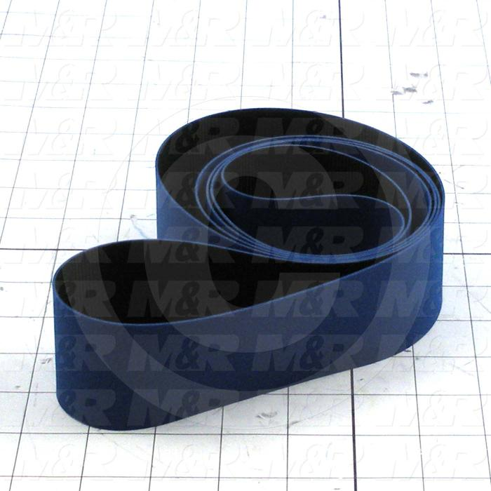 "Flat Conveyor Belt, Fine/Tex., Polyurethane, Polyurethane, Blue, Black, 0.05"" Thickness, 2"" Width, 71.84"" Length"