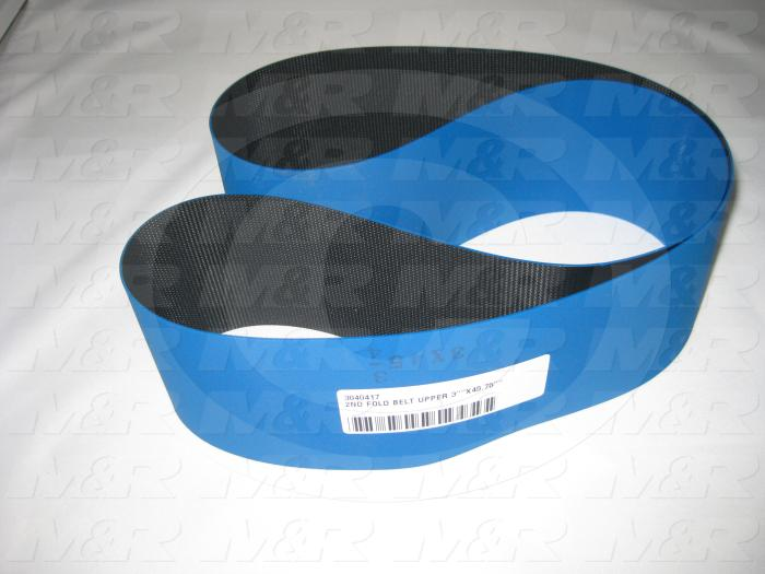"Flat Conveyor Belt, Fine/Tex., Polyurethane, Polyurethane, Blue, Black, 0.05"" Thickness, 3 in. Width, 45.75"" Length"