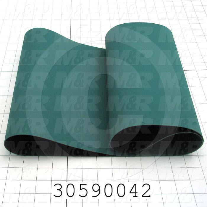 "Flat Conveyor Belt, Fine/Tex., Polyurethane, Polyurethane, Green, Black, 0.05"" Thickness, 12"" Width, 45.375"" Length"