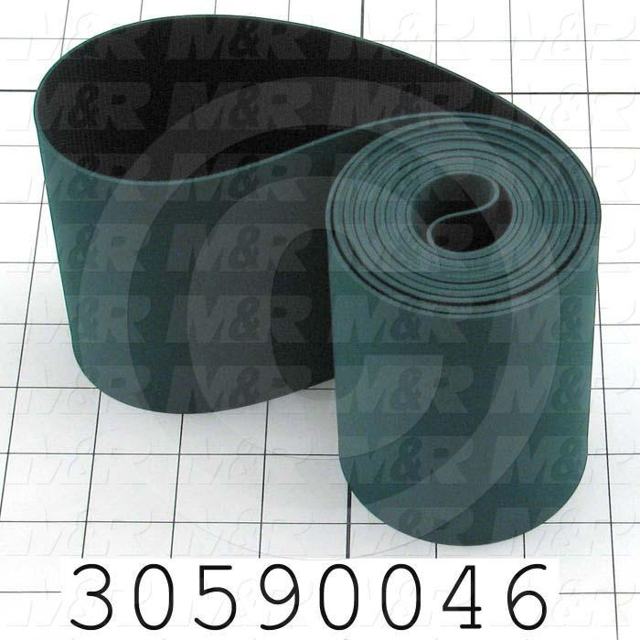 "Flat Conveyor Belt, Fine/Tex., Polyurethane, Polyurethane, Green, Black, 0.05"" Thickness, 4"" Width, 117.63"" Length"