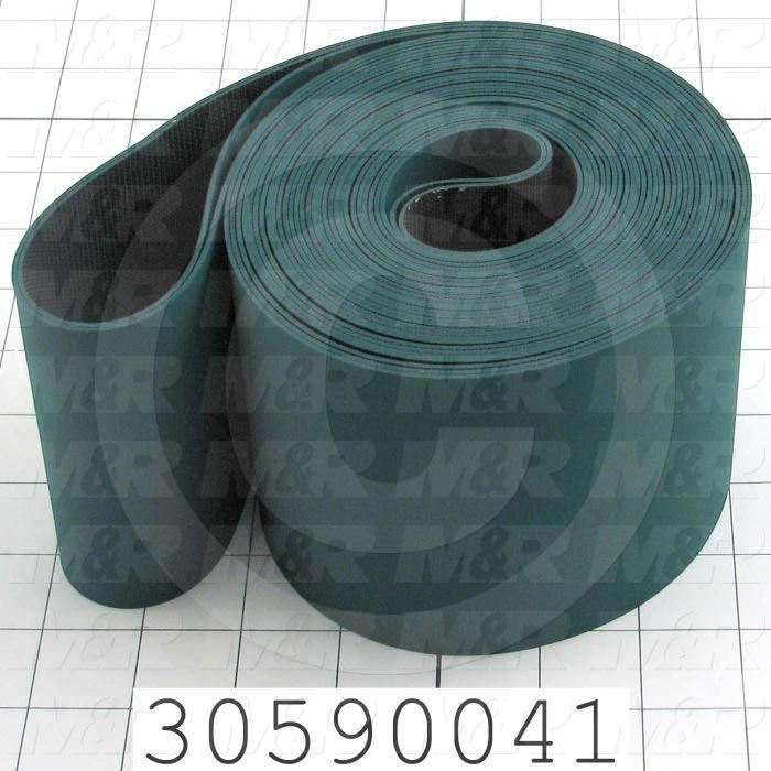 "Flat Conveyor Belt, Fine/Tex., Polyurethane, Polyurethane, Green, Black, 0.05"" Thickness, 4"" Width, 175 in. Length"