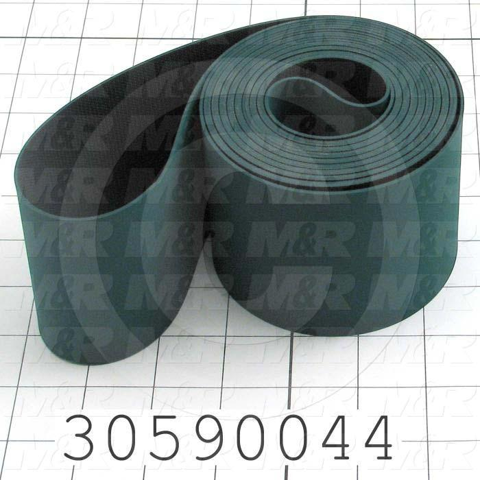 Flat Conveyor Belt, Fine/Tex., Polyurethane, Polyurethane, Green, Black, 1.4 mm Thickness, 3 in. Width, 175 in. Length