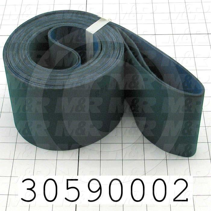 "Flat Conveyor Belt, Nitrile Rubber, Nylon Fabric, Green, Blue, 0.05"" Thickness, 4"" Width, 143.75"" Length"