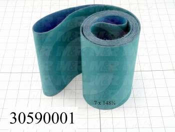 "Flat Conveyor Belt, Nitrile Rubber, Nylon Fabric, Green, Blue, 0.05"" Thickness, 7"" Width, 143.75"" Length"