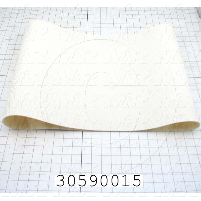 "Flat Conveyor Belt, PVC, Nylon Fabric, White, White, 0.11"" Thickness, 16"" Width, 45"" Length"