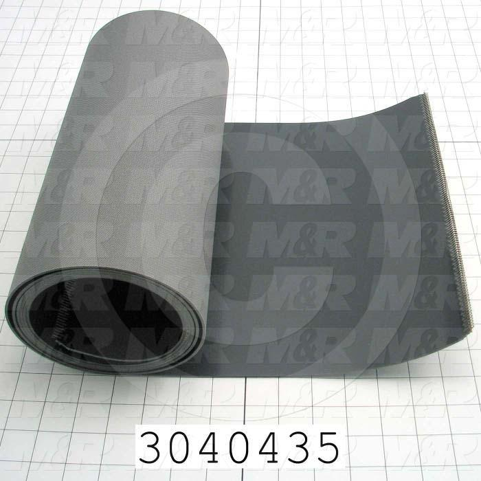 "Flat Conveyor Belt, Smooth Top, Gray, Gray, 12"" Width, 102.50"" Length"