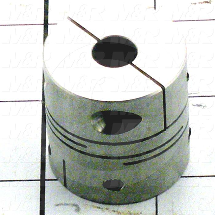 Flexible Cushion Type Coupling, Hub # 1 Bore 10mm, Hub # 1 Outer Diameter 32 mm, Hub # 2 Bore 12 mm, Overall Length 32 mm, Clamping Style Set Screw