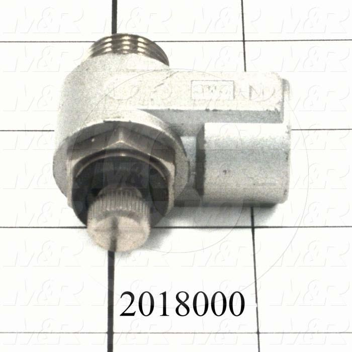"Flow Control, Direct Cylinder Elbow Type, 3/8"" NPT Port In, 3/8"" OD Port Out, Meter Out Control Type, 920 l/min Flow Rate"