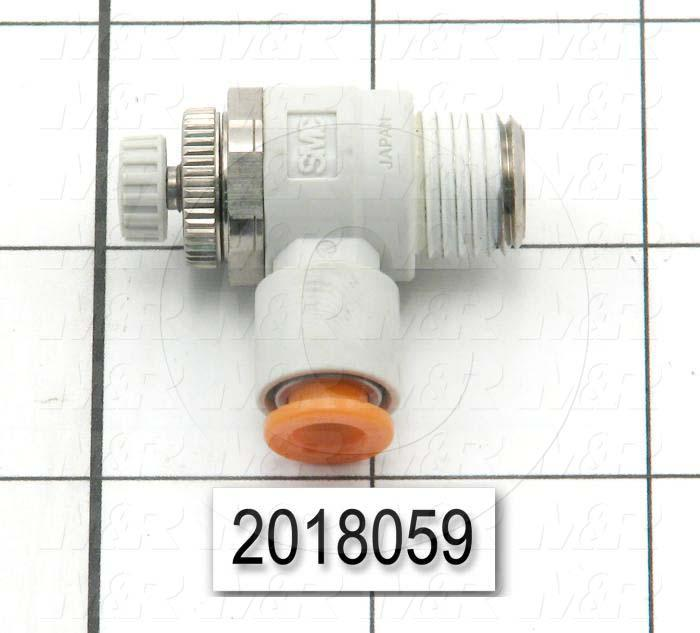 "Flow Control, Speed Controller Type, 1/4"" NPT Port In, 1/4"" OD Port Out, Meter Out Control Type, 460 l/min Flow Rate, W/Seal Option"