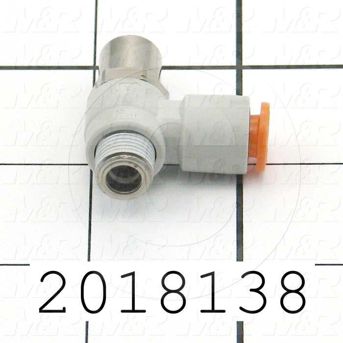"Flow Control, Speed Controller Type, 1/8"" NPT Port In, 1/4"" OD Port Out, Tee One-Touch Fitting Control Type, 230 l/min Flow Rate, W/Seal Option"