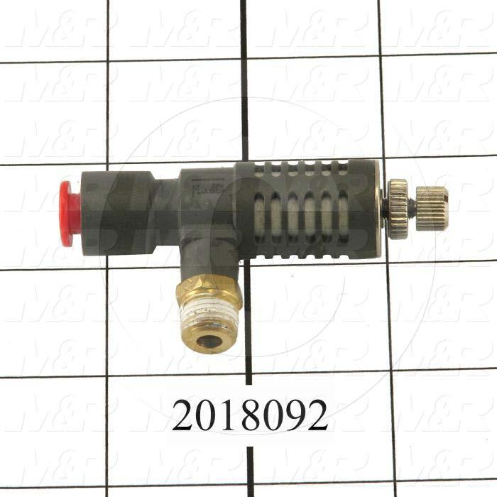 """Flow Control, Speed Exhaust Controller Type, 1/8"""" NPT Port In, 1/8"""" NPT Port Out, Tee One-Touch Fitting Control Type, W/Seal Option"""