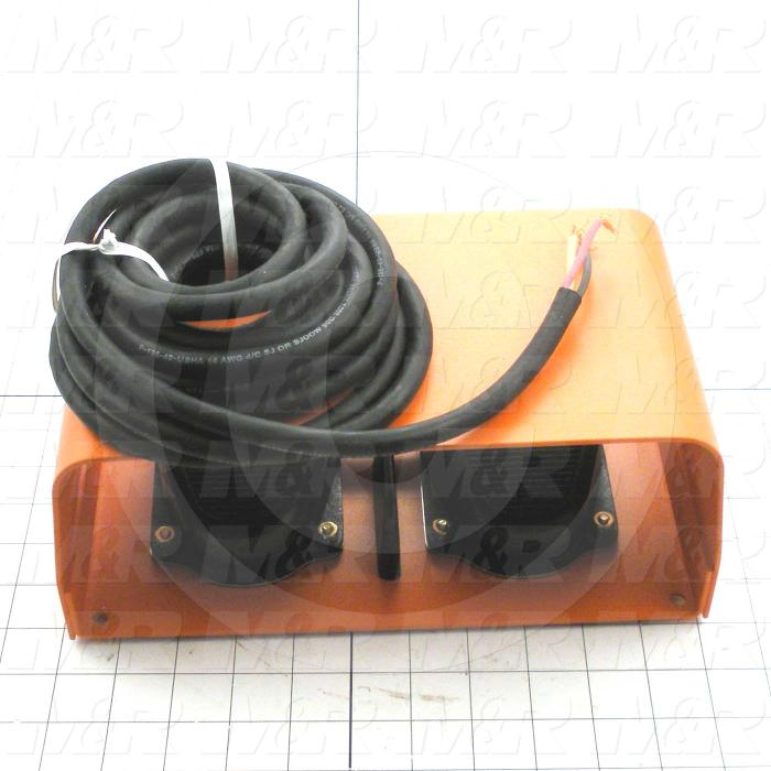 """Foot Pedal Switches, Twin, 125-250V, 20A, with Guard, 160"""" Cord Length"""