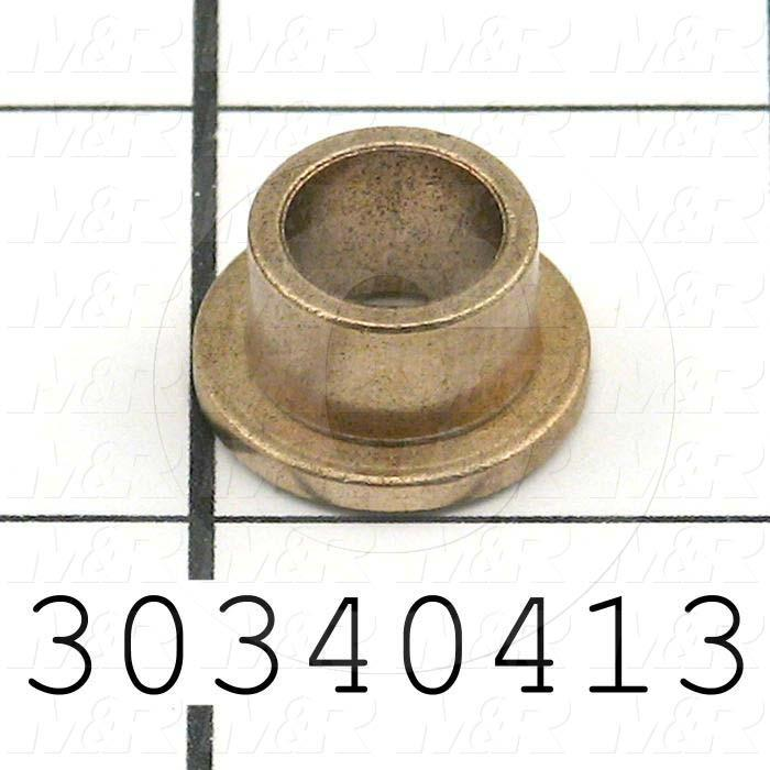 """Friction Bearings, Plain Cylindrical Type, Bronze Material, 0.38 in. Inside Diameter, 0.500"""" Outside Diameter, 0.688"""" Flange Diameter, 0.09"""" Flange Thickness, 0.38 in. Overall Length"""