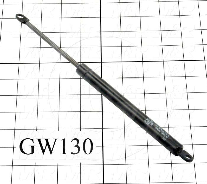 "Gas Spring, 296 MM Extended Length, 192 MM Compressed Length, Thru Hole, 0.24""/0.32"" Thru Hole Diameter, 28 lbf/124 N"