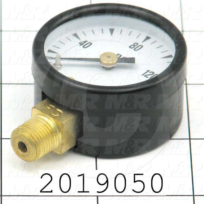 Gauge, 1.50 in. Outside Diameter, 160 Psi Max. Pressure
