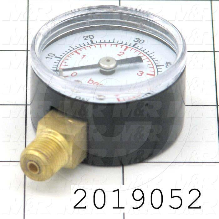"Gauge, 1.50 in. Outside Diameter, Panel Mounting, 60 Psi Max. Pressure, 1/8"" NPT Thread Size"