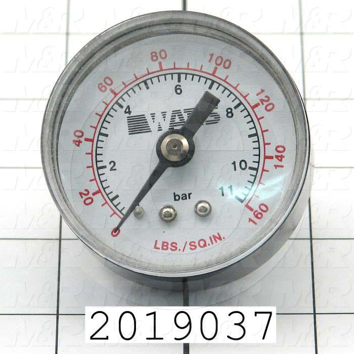 Gauge, 2.00 in. Outside Diameter, 160 Psi Max. Pressure