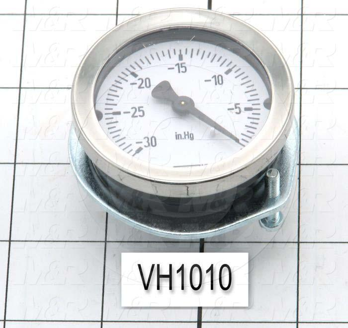 "Gauge, 2.00 in. Outside Diameter, Panel Mounting, 0-30""HG Max. Pressure, 1/8"" NPT Thread Size, Vacuum"