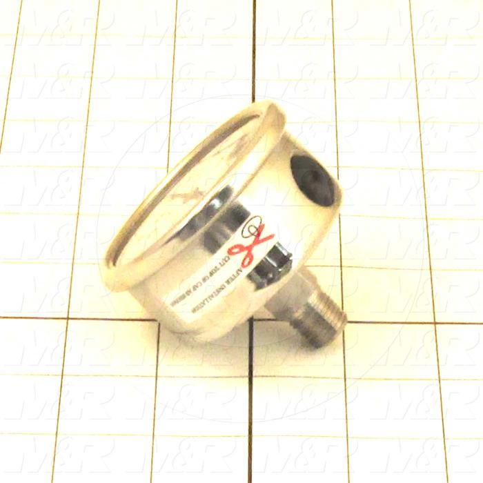 "Gauge, 2 1/2"" Outside Diameter, Back Side Thread Mounting, 5000 Psi Max. Pressure, 1/4"" NPT Thread Size, Liquid Filled"