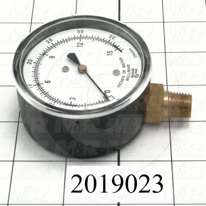Gauge, 2.50 in. Outside Diameter, 15 Psi Max. Pressure