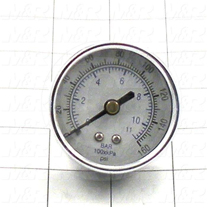 "Gauge, 2.50 in. Outside Diameter, 160 Psi Max. Pressure, 1/4"" NPT Thread Size"