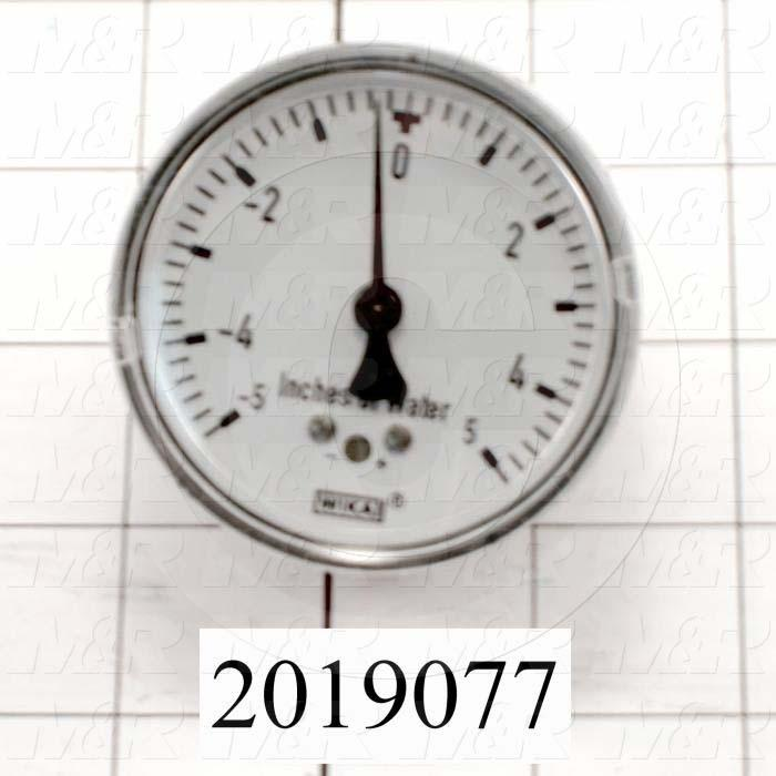 """Gauge, 2.50 in. Outside Diameter, Back Side Thread Mounting, -5-0+5""""wc/-12.5-0+12.5 mbar Max. Pressure, 1/8"""" NPT Thread Size"""