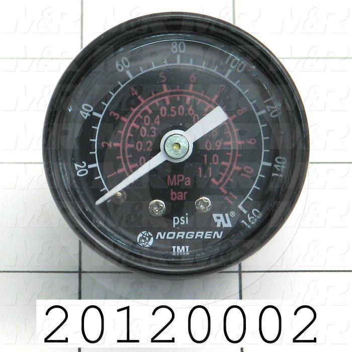 "Gauge, 5.00"" Outside Diameter, 1.0 MPa Max. Pressure, 1/8"" PTF Thread Size"