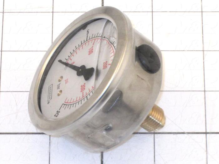 Gauge, 63 mm Outside Diameter, Back Side Thread Mounting, 300 Psi Max. Pressure, 1/4 BSPP Thread Size, Liquid Filled