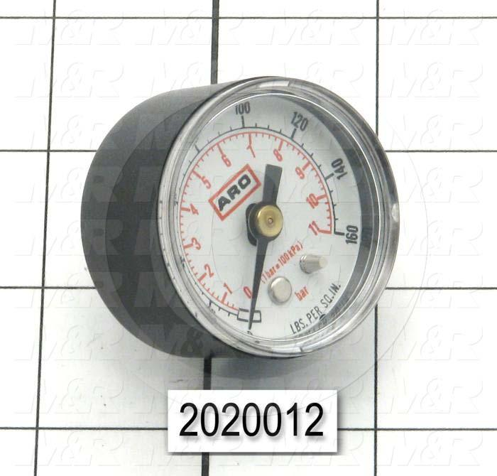 Gauge, Back Side Thread Mounting, 160 Psi Max. Pressure