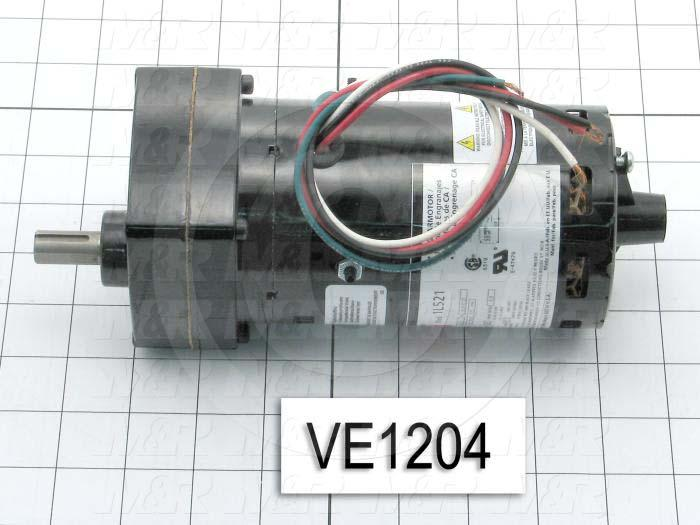 """Gearmotors, Type In-Line, Ratio 25:1, Output Type Output Shaft (Single), Output Diameter 0.500"""", Output Torque 49 in-lbs, Output Rpm 53 rpm, Mounting Type Face mounted, Motor HP 1/20 hp"""