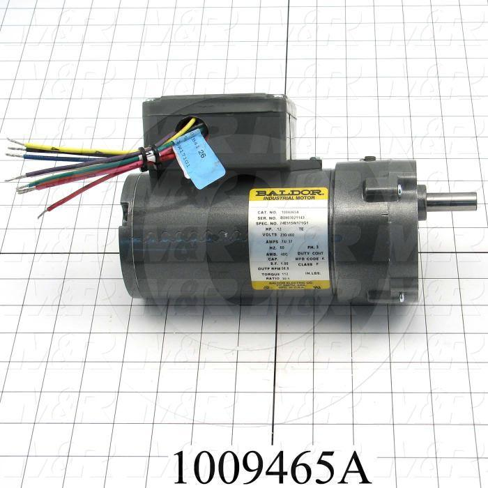 "Gearmotors, Type Parallel Shaft, Type of Gears Helical, Ratio 30:1, Output Type Output Shaft (Single), Output Diameter 1/2"", Output Rpm 56 rpm, Mounting Type Face mounted, Motor HP 1/12 hp"