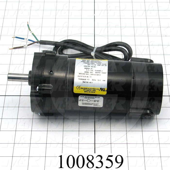 "Gearmotors, Type Parallel Shaft, Type of Gears Helical, Ratio 40:1, Output Type Output Shaft (Single), Output Diameter 1/2"", Output Torque 112 in-lbs, Output Rpm 43 rpm"