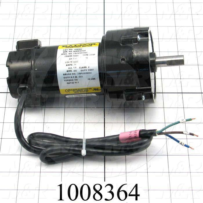 "Gearmotors, Type Parallel Shaft, Type of Gears Helical, Ratio 60:1, Output Type Output Shaft (Single), Output Diameter 1/2"", Output Torque 100 in-lbs, Output Rpm 28.8 rpm"