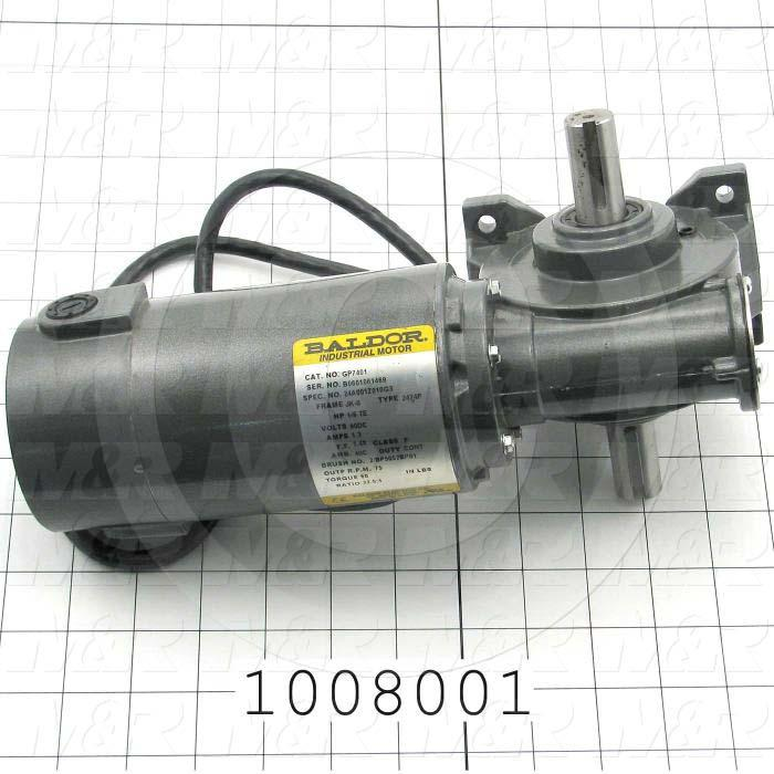 "Gearmotors, Type Right Angle, Type of Gears Worm, Ratio 22.5:1, Output Type Output Shaft (Double), Output Diameter 3/4"", Output Torque 60 in-lbs, Output Rpm 75 rpm"