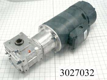 Gearmotors, Type Right Angle, Type of Gears Worm, Ratio 5:1, Output Type Hollow Bore, Output Rpm 345 rpm, Mounting Type Foot mounted, Motor HP 1/2 hp, Motor Brake Yes, 115/230 VAC