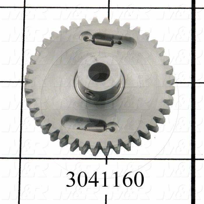 "Gears and Racks, Anti-Backlash Gear, ANSI Standard, Gear Type : Spur, 20 Deg Pressure Angle, 24 Pitch, 0.187"" Face Width, 40 No. of Teeth, 0.50"" Hub Diameter, Cylindrical Bore Type"