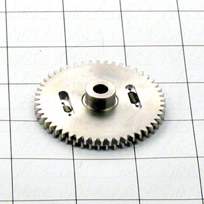 "Gears and Racks, Anti-Backlash Gear, ANSI Standard, Gear Type : Spur, 20 Deg Pressure Angle, 24 Pitch, 0.187"" Face Width, 50 No. of Teeth, 0.50"" Hub Diameter, Cylindrical Bore Type"