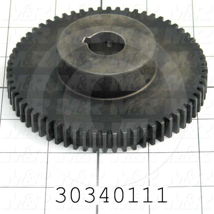 "Gears, ANSI, 5 mm Pitch, 64 Teeth, 5/8"" Bore Diameter, 4.125"" Outside Diameter, 0.50"" Face Width, 1-1/8"" Overall Length, Steel Material, Black Finish"