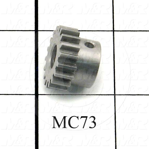 "Gears, ANSI, 8 mm Pitch, 18 Teeth, 5/16"" Bore Diameter, 0.833"" Outside Diameter, 1/4"" Face Width, 9/16"" Overall Length, Steel Material, Plain Finish"