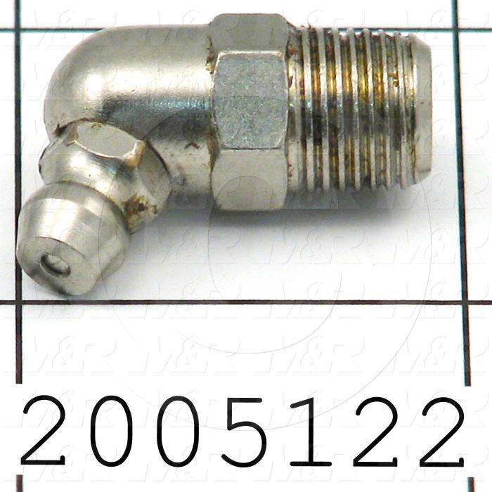 "Grease Fittings, Angle 45 deg Style, Zinc Plated Steel Material, 1/8"" NPT Thread Size"