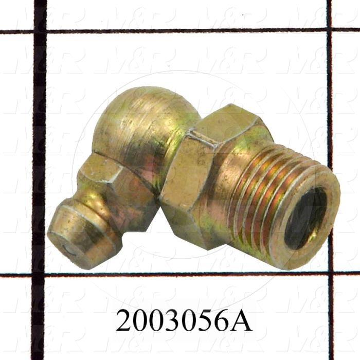 "Grease Fittings, Angle 90 deg Style, Brass Material, 1/8"" NPT Thread Size"
