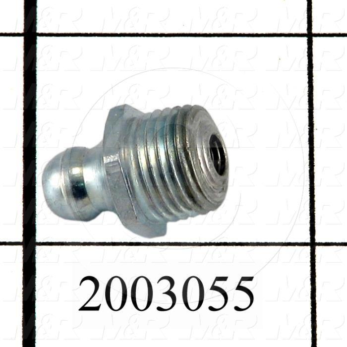 "Grease Fittings, Straight Style, Zinc Plated Steel Material, 1/8"" NPT Thread Size"