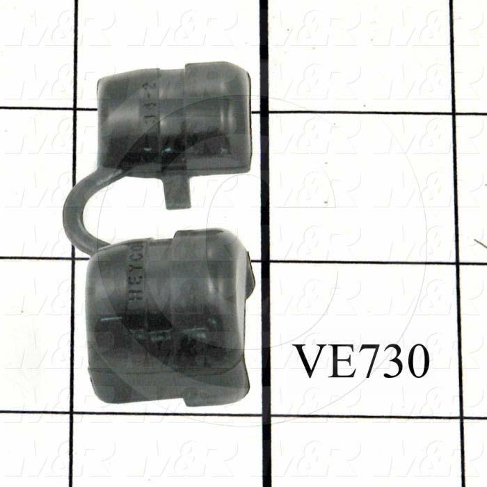 "Grommets, Plugs, Bushings, 0.875"" Groove Diameter, 0.125"" Panel Thickness, 0.813"" Overall Length, Black, Nylon 6/6"