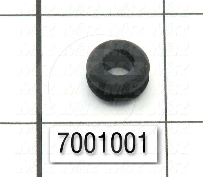 "Grommets, Plugs, Bushings, Grommet, 0.50"" Outside Diameter, 0.25 in. Inside Diameter, 0.38 in. Groove Diameter, 0.125"" Panel Thickness, 0.28 in. Overall Length, Black, Rubber"