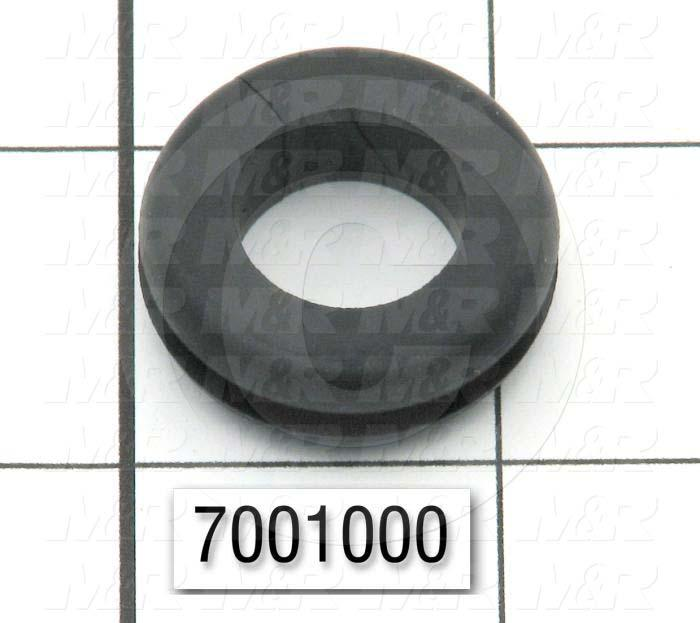 "Grommets, Plugs, Bushings, Grommet, 1.13 in. Outside Diameter, 0.63"" Inside Diameter, 0.88"" Groove Diameter, 0.125"" Panel Thickness, 0.38 in. Overall Length, Black"