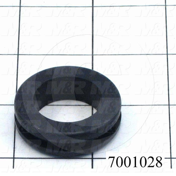 "Grommets, Plugs, Bushings, Grommet, 1.375"" Outside Diameter, 0.88"" Inside Diameter, 1.18"" Groove Diameter, 0.125"" Panel Thickness, Black, Rubber"