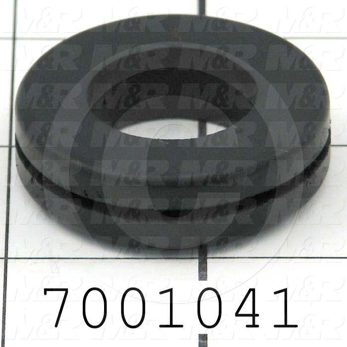 "Grommets, Plugs, Bushings, Grommet, 1.63"" Outside Diameter, 0.88"" Inside Diameter, 1.25"" Groove Diameter, 0.06"" Panel Thickness, 0.44"" Overall Length, Black"
