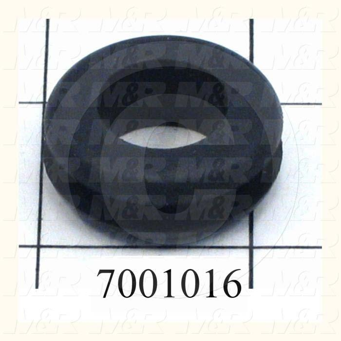 "Grommets, Plugs, Bushings, Grommet, Grommet, 1.13 in. Outside Diameter, 0.63"" Inside Diameter, 0.88"" Groove Diameter, 0.125"" Panel Thickness, 0.44"" Overall Length, Black, Rubber"