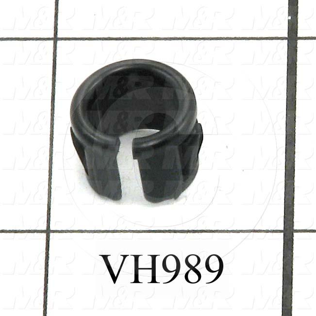 "Grommets, Plugs, Bushings, Plug, 0.330"" Inside Diameter, 0.437"" Groove Diameter, 0.125"" Panel Thickness, 0.406"" Overall Length, 0.500"" Head Size/Diameter, Black, Nylon 6/6, Split"